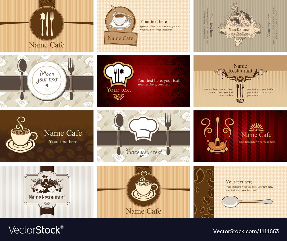Business cards of food and drink Royalty Free Vector Image