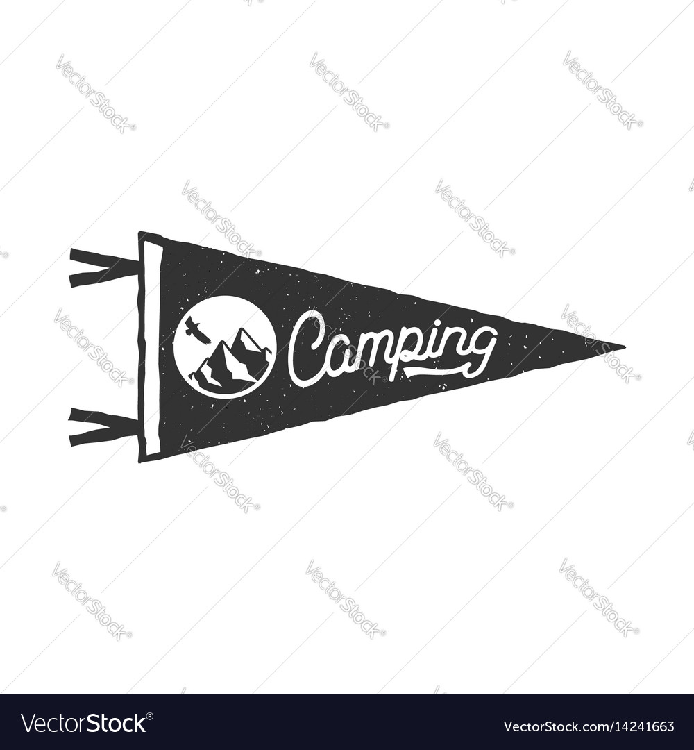 Camping pennant template tent and text sign