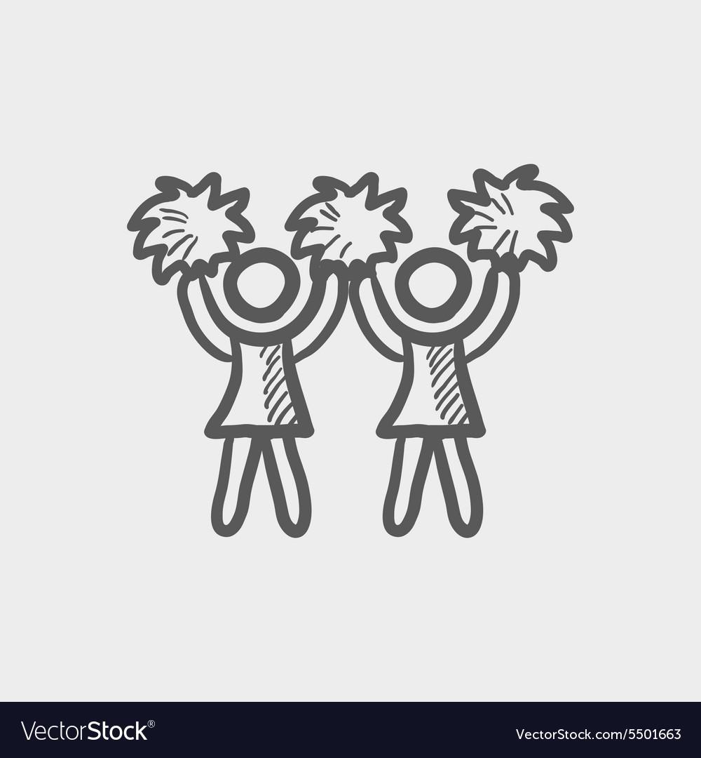 Cheerleader sketch icon