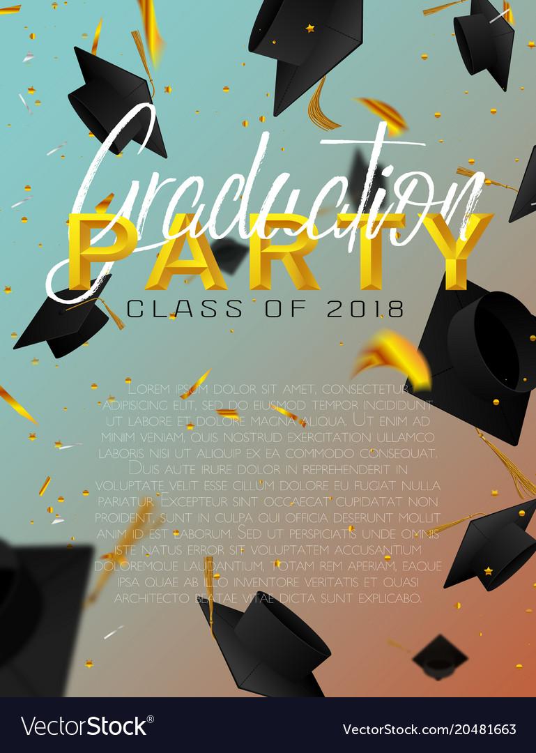 Graduate caps and confetti on a bright background vector image