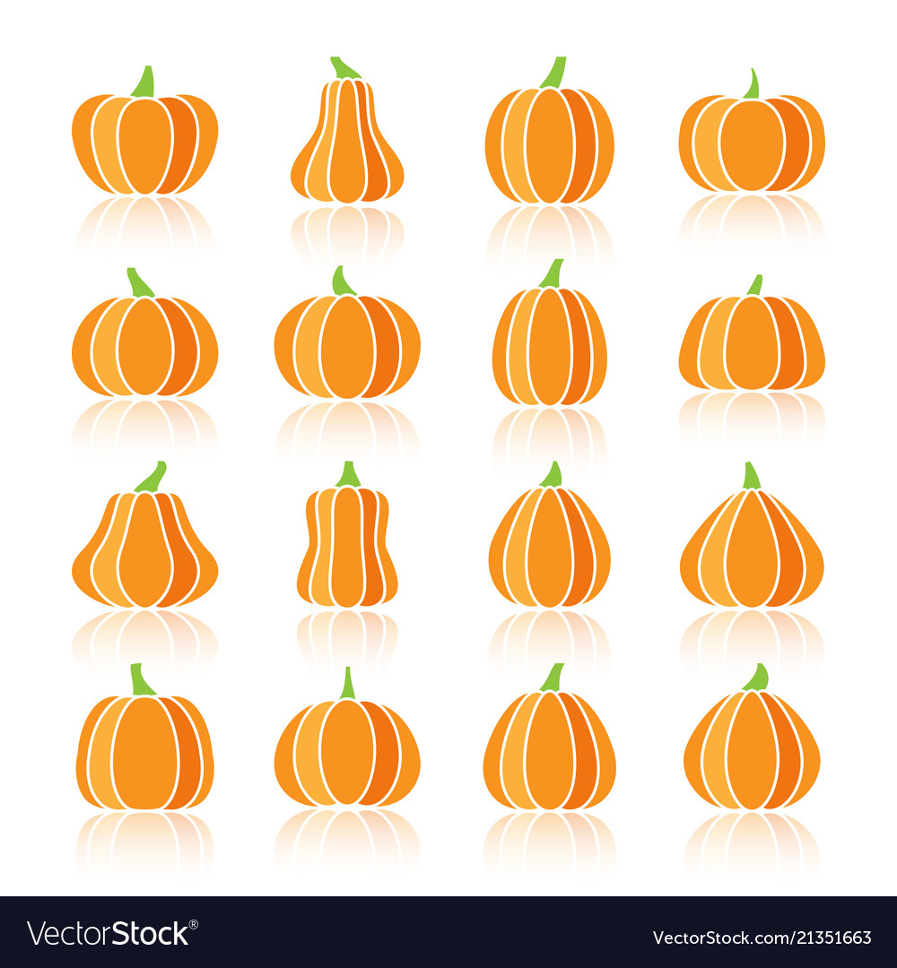 Halloween pumpkin color silhouette icon set