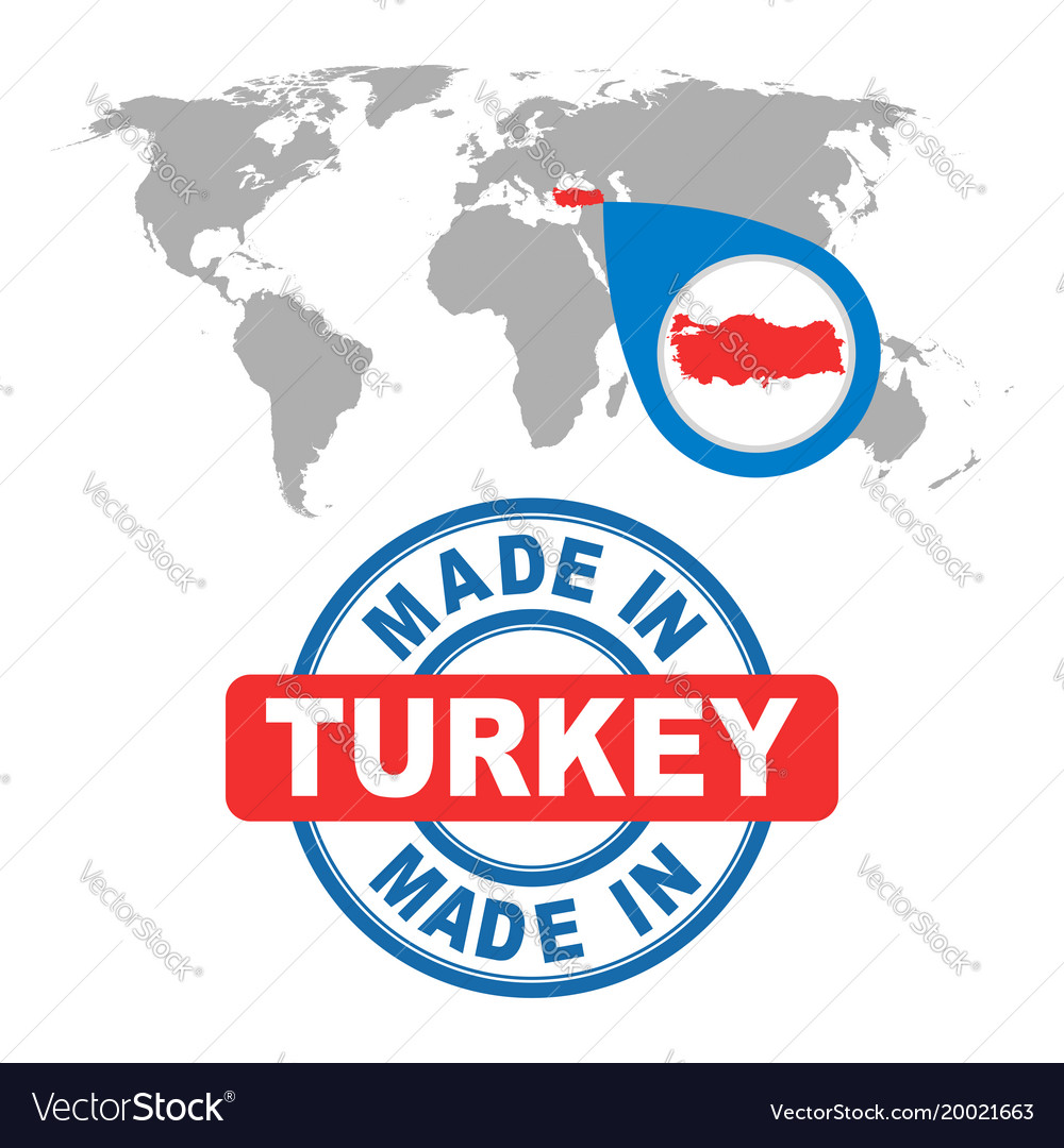 Made in turkey stamp world map with red country Vector Image