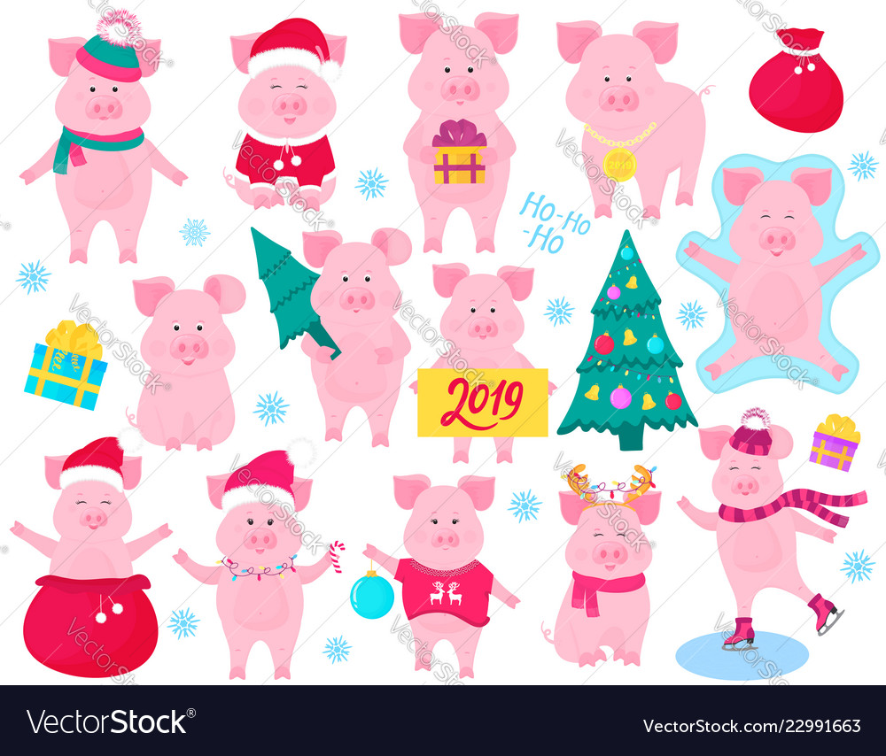 New year s set of cute pigs funny characters