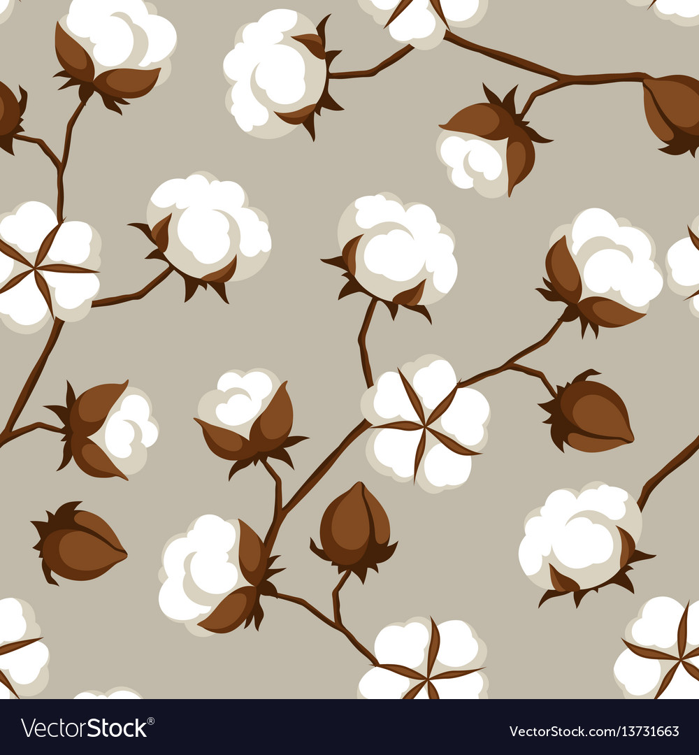 Seamless pattern with cotton bolls and branches vector image