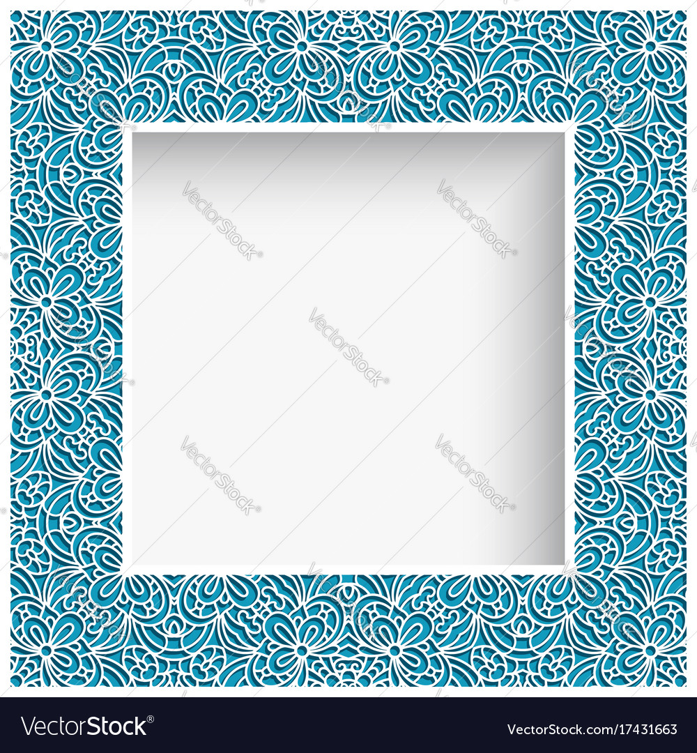Square frame with cutout lace border pattern
