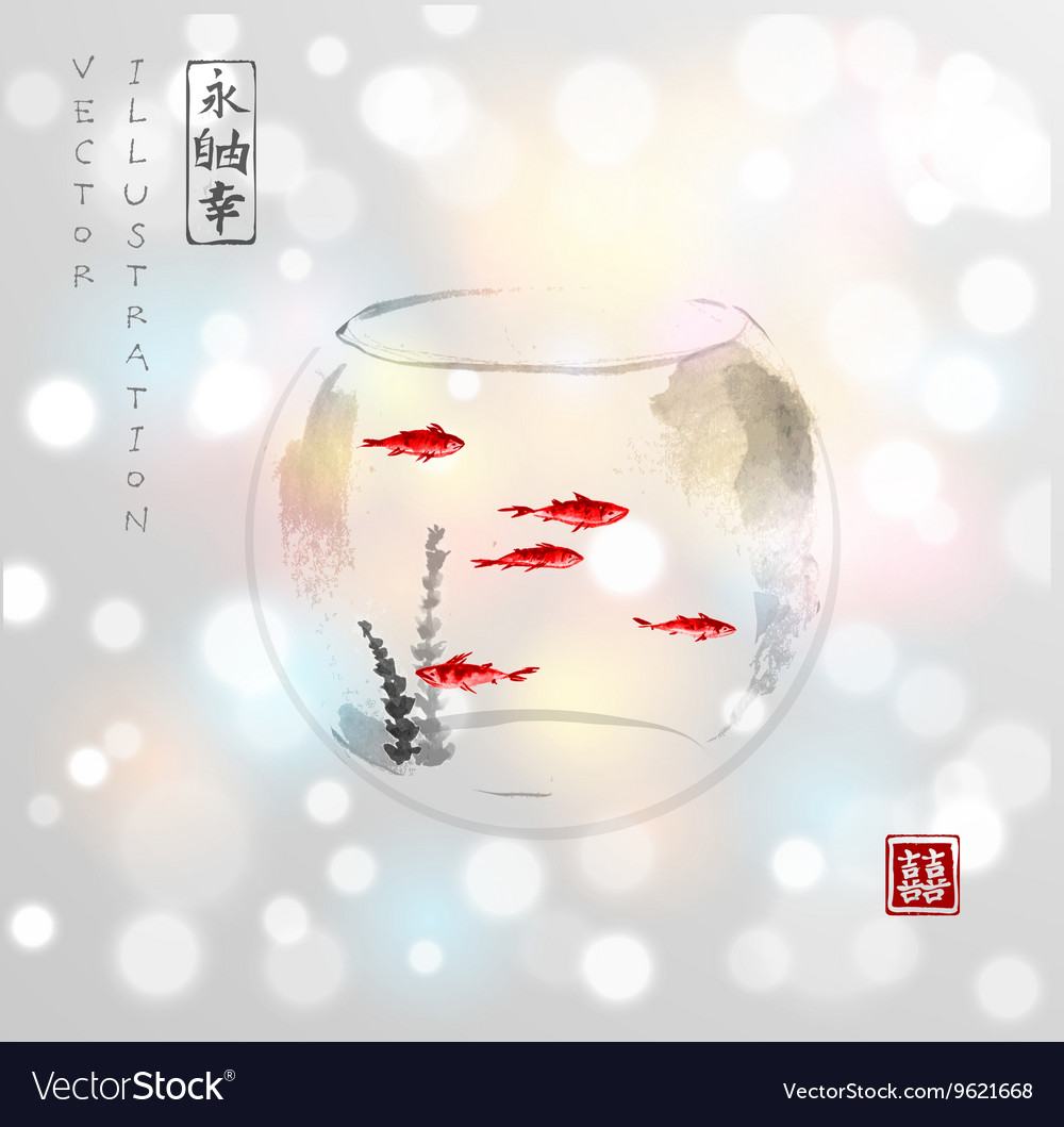 Aquarium with five small red fishes vector image