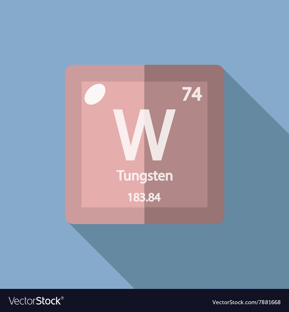 Chemical Element Tungsten Flat Royalty Free Vector Image