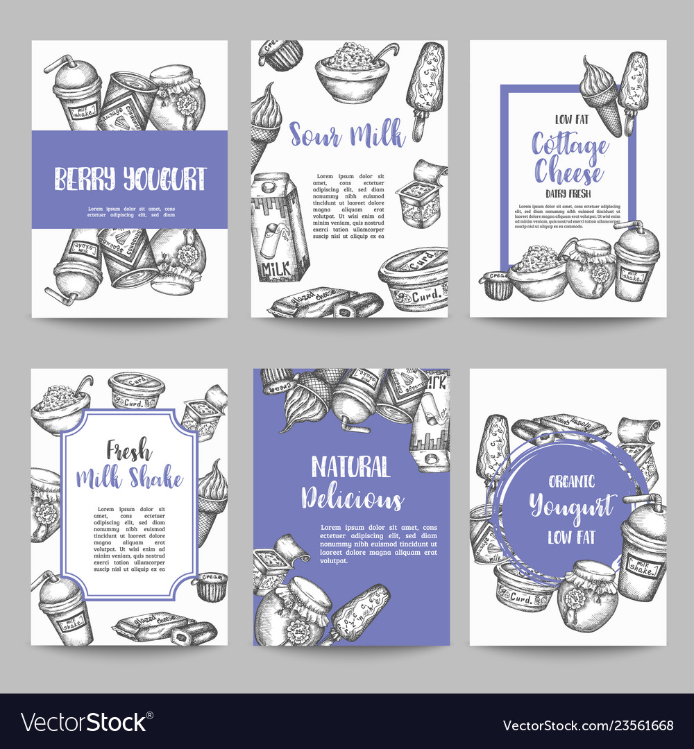 Dairy sweet set cards collection hand drawn