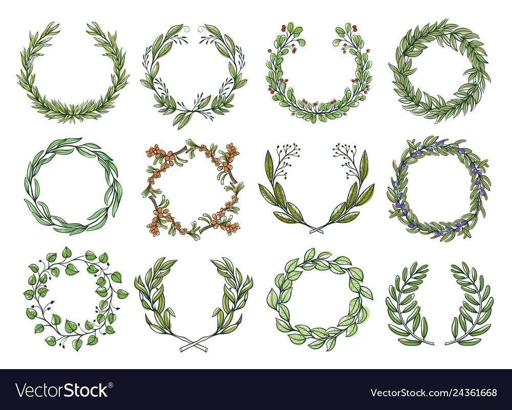 Decorative flower wreaths set romantic blossom