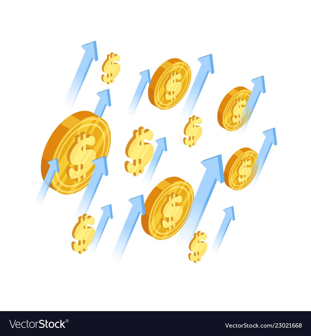 Growth dollar concept arrows and dollar