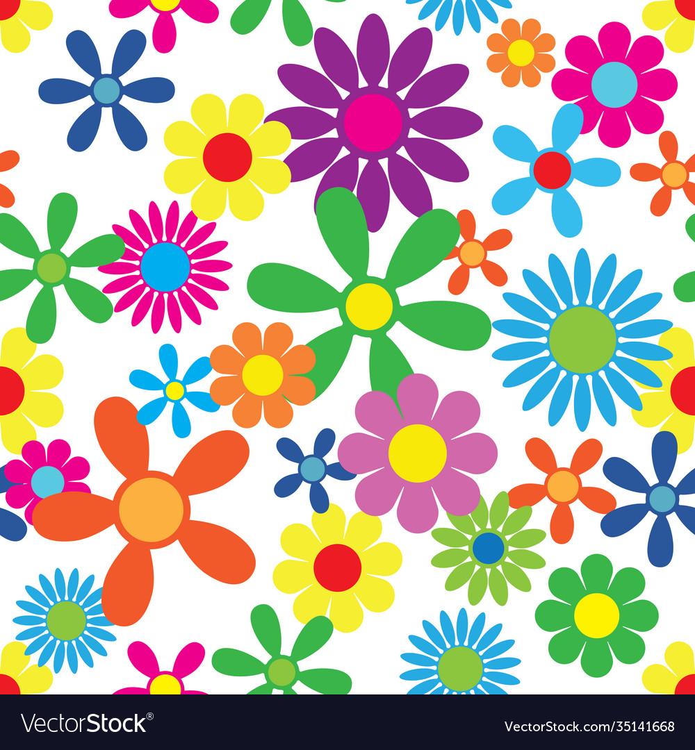 Hippie flowers seamless pattern