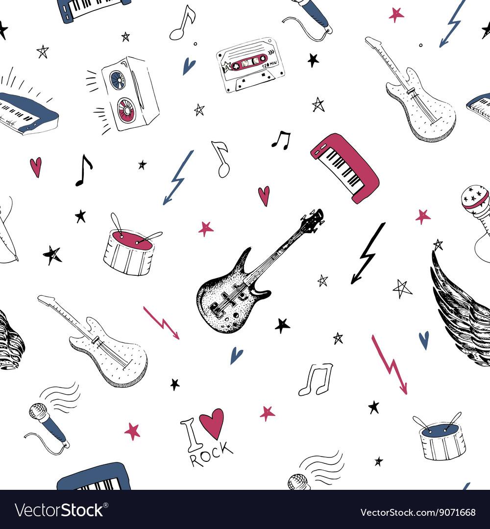 Music symbols Seamless pattern rock background