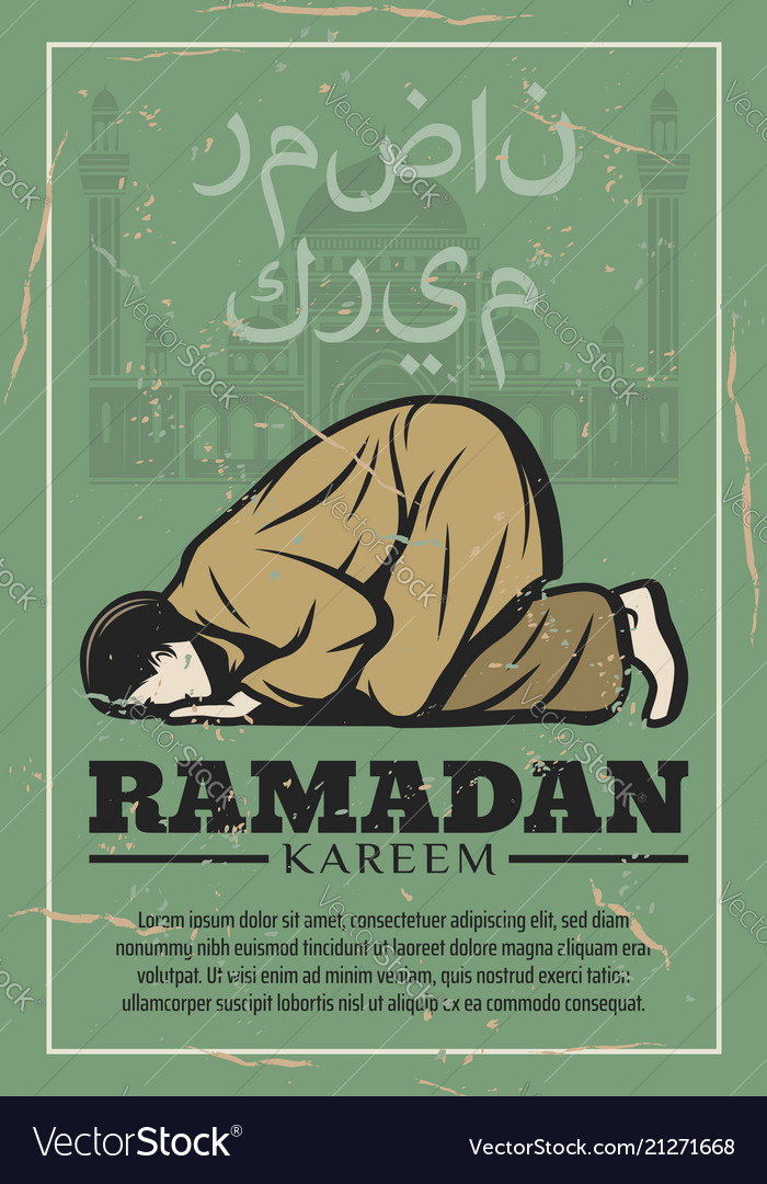 Ramadan kareem vintage card with mosque and prayer