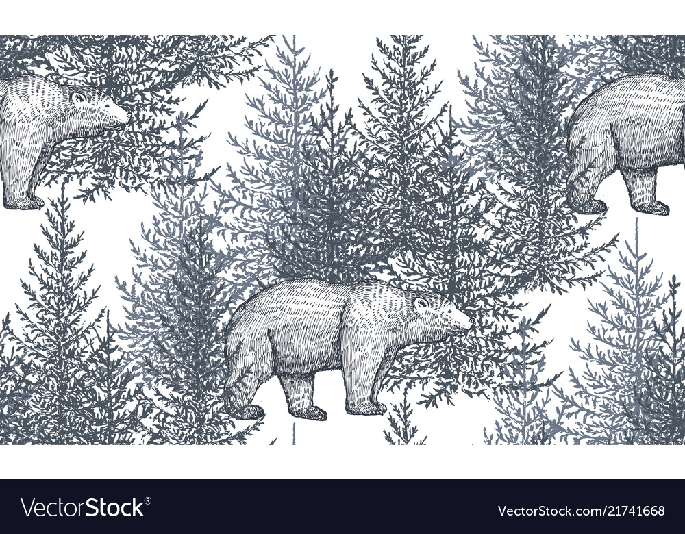 Seamless pattern with hand drawn bears and