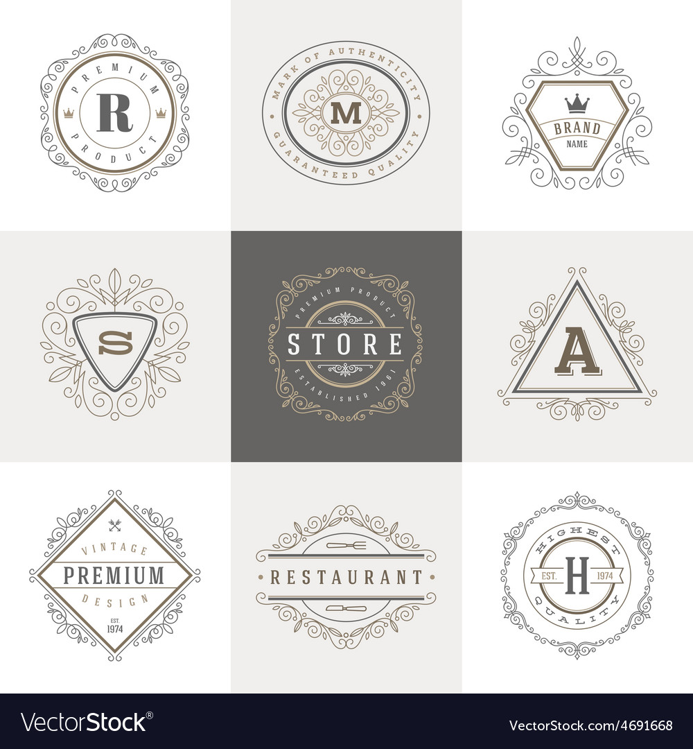 Set of Monogram flourishes logo