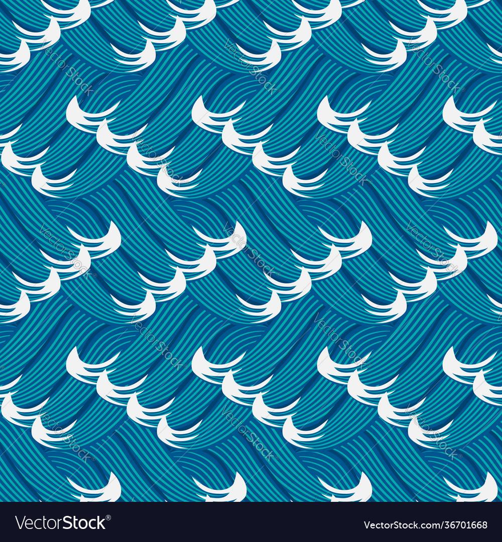 Stylized sea waves seamless pattern