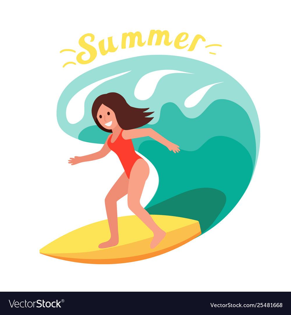 Summer surfer girl rides waves ocean