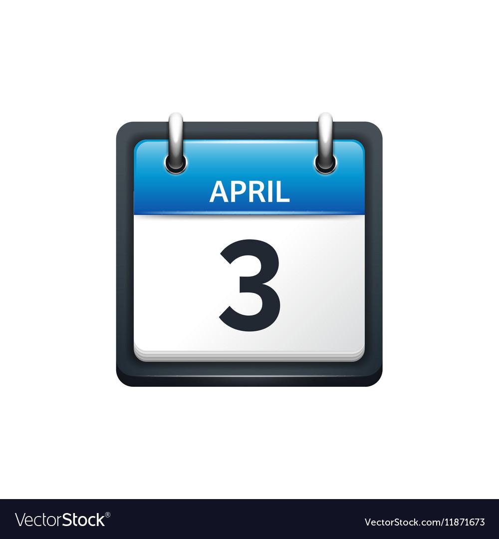 April 3 Calendar icon flat vector image