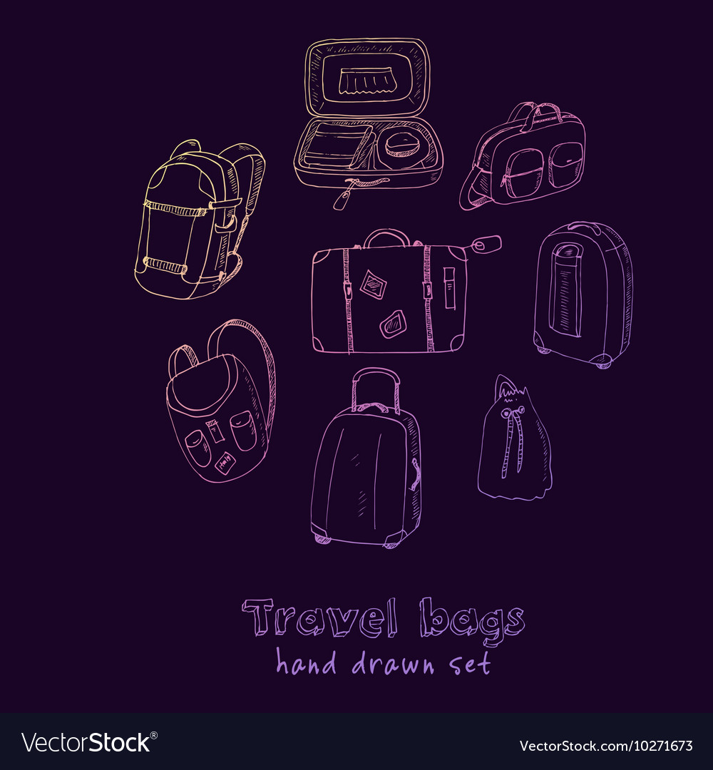 Black contours of different travel bags and