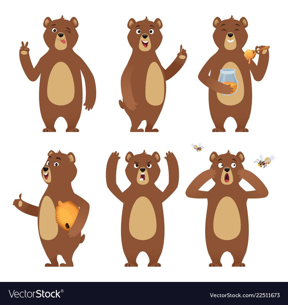 Brown bear cartoon wild animal standing at