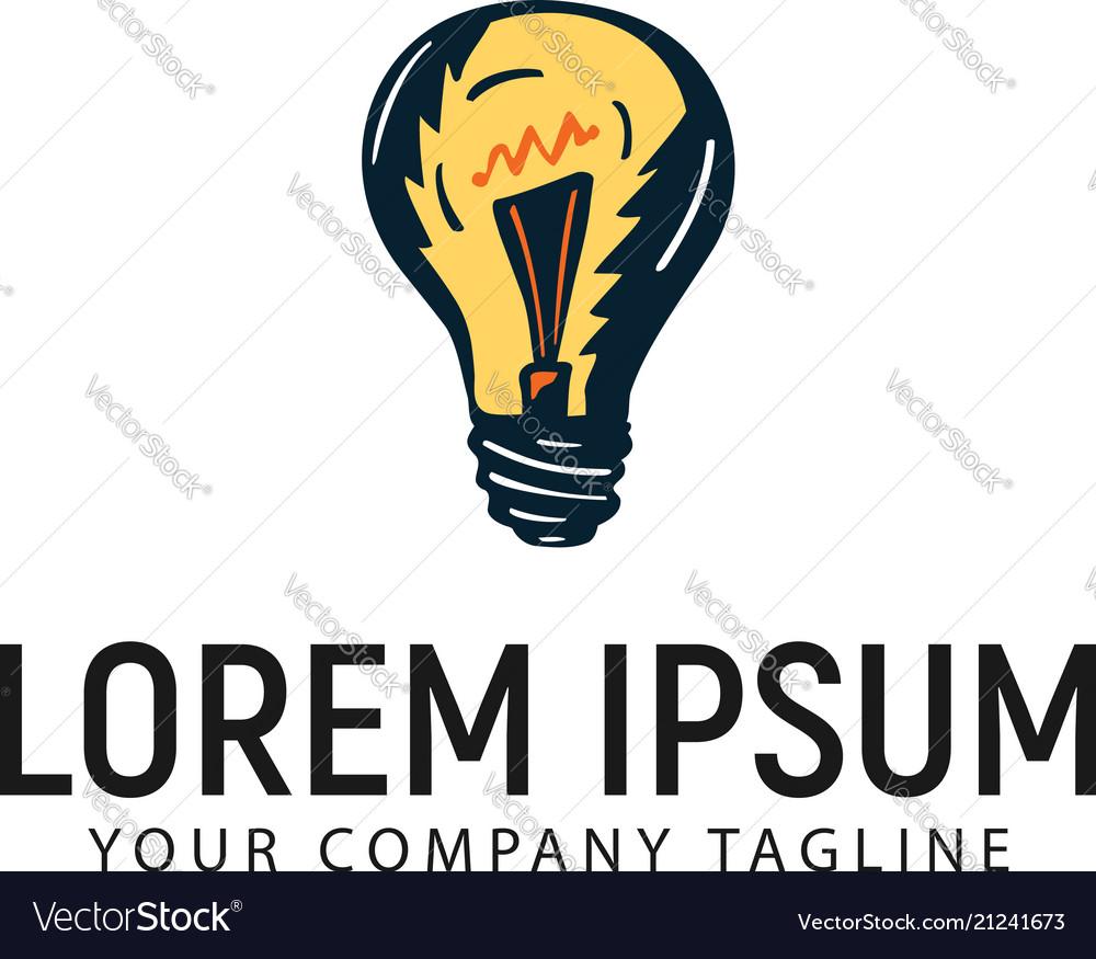 Bulb lamp hand drawn logo design concept template