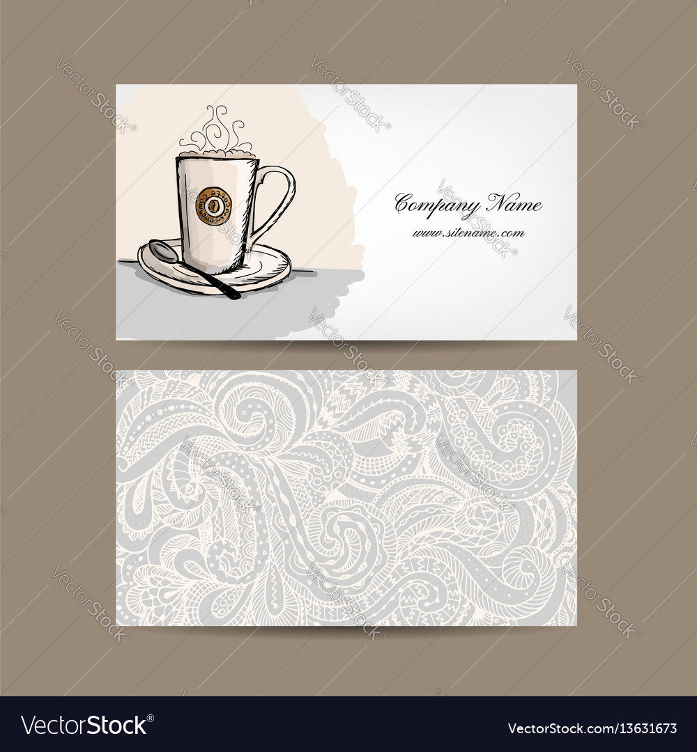 Business cards design with coffee cup vector image