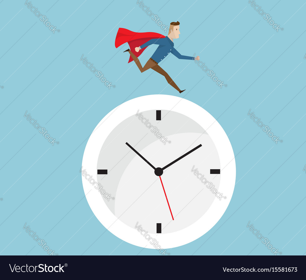 Businessman with red cape running on clock