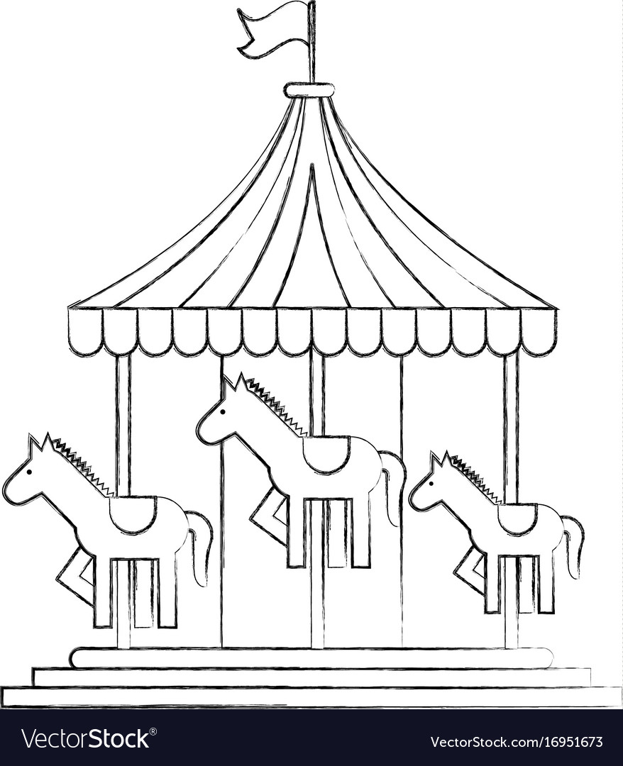 carnival carousel isolated icon royalty free vector image