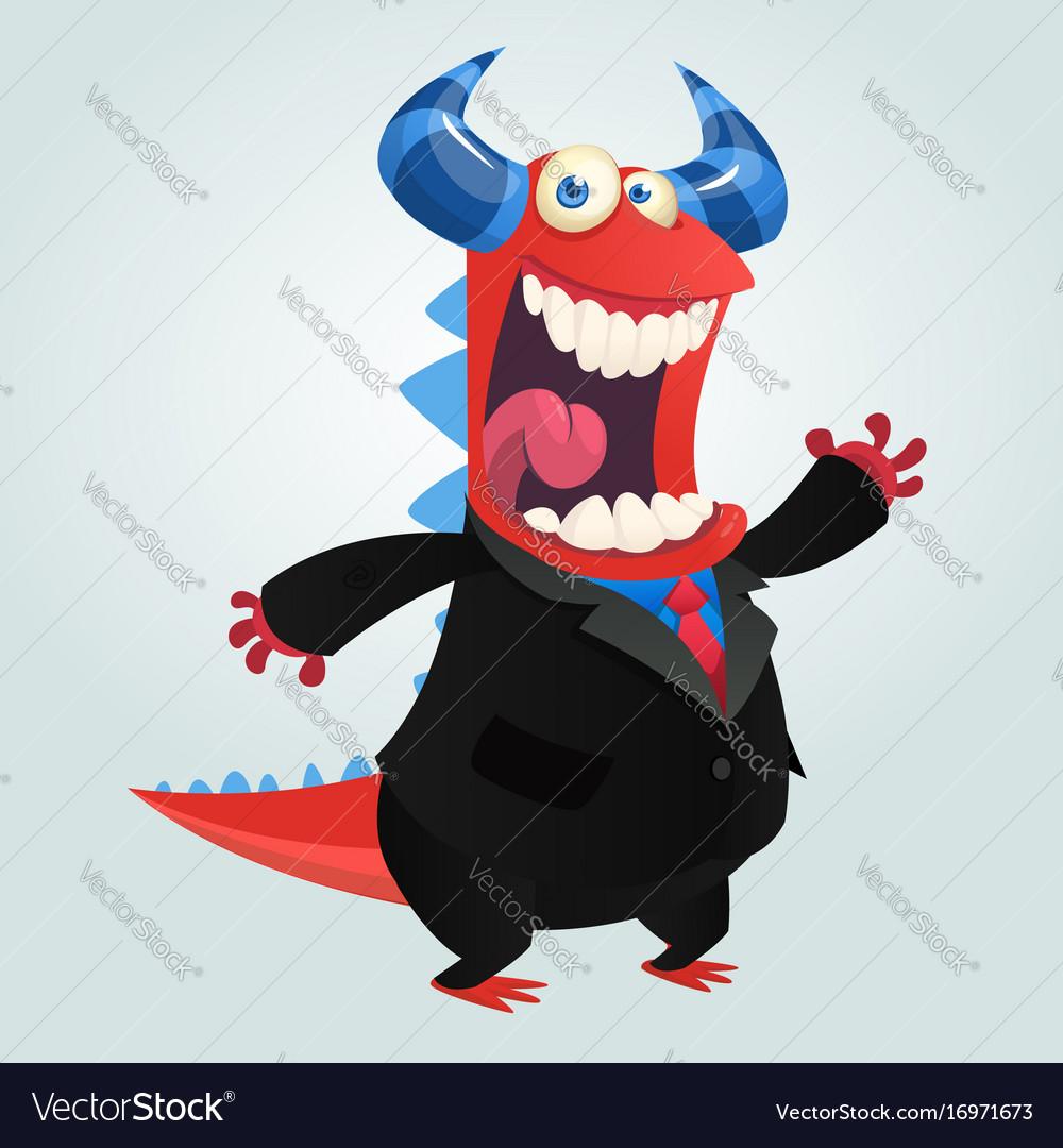 Cartoon happy monster businessman