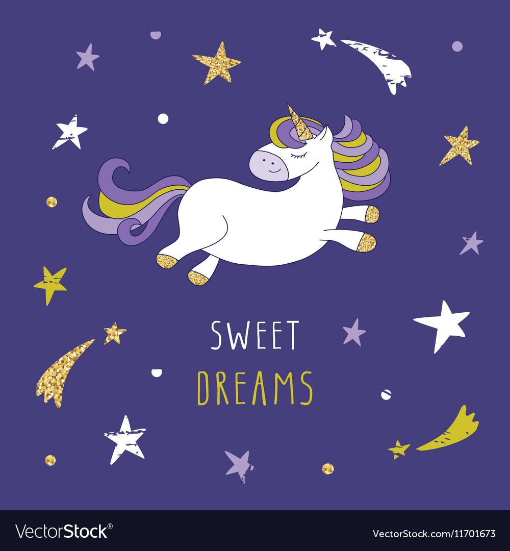 Cartoon unicorn on the night sky with glitter