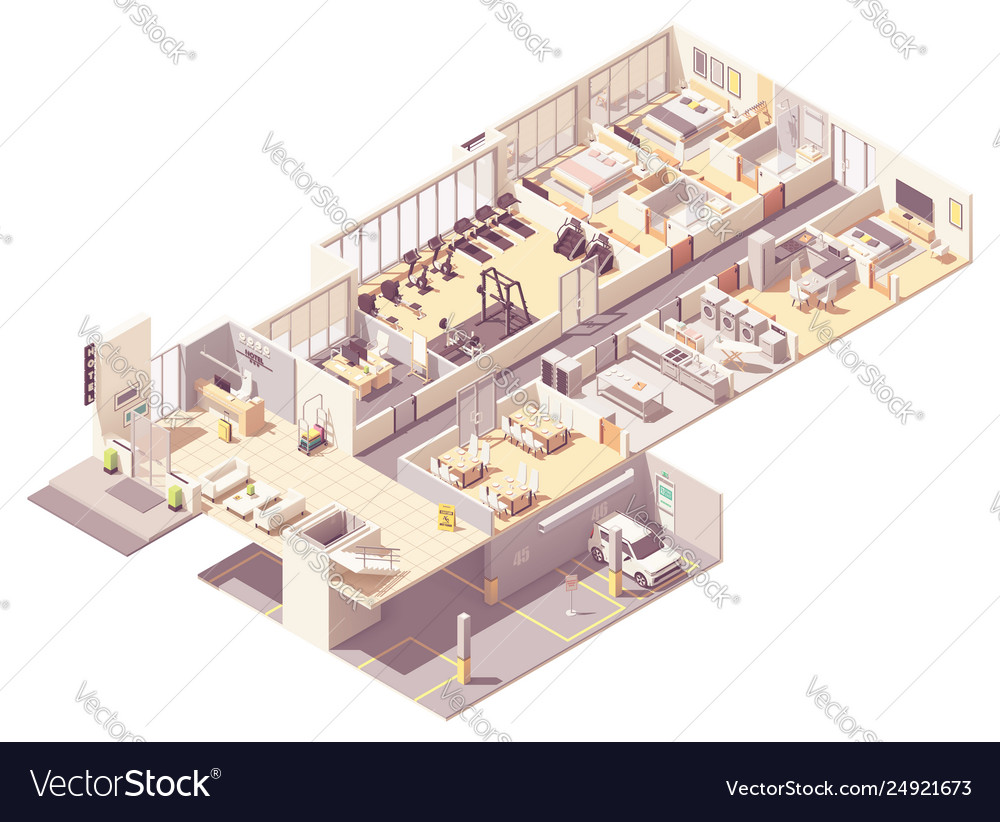 Isometric hotel interior