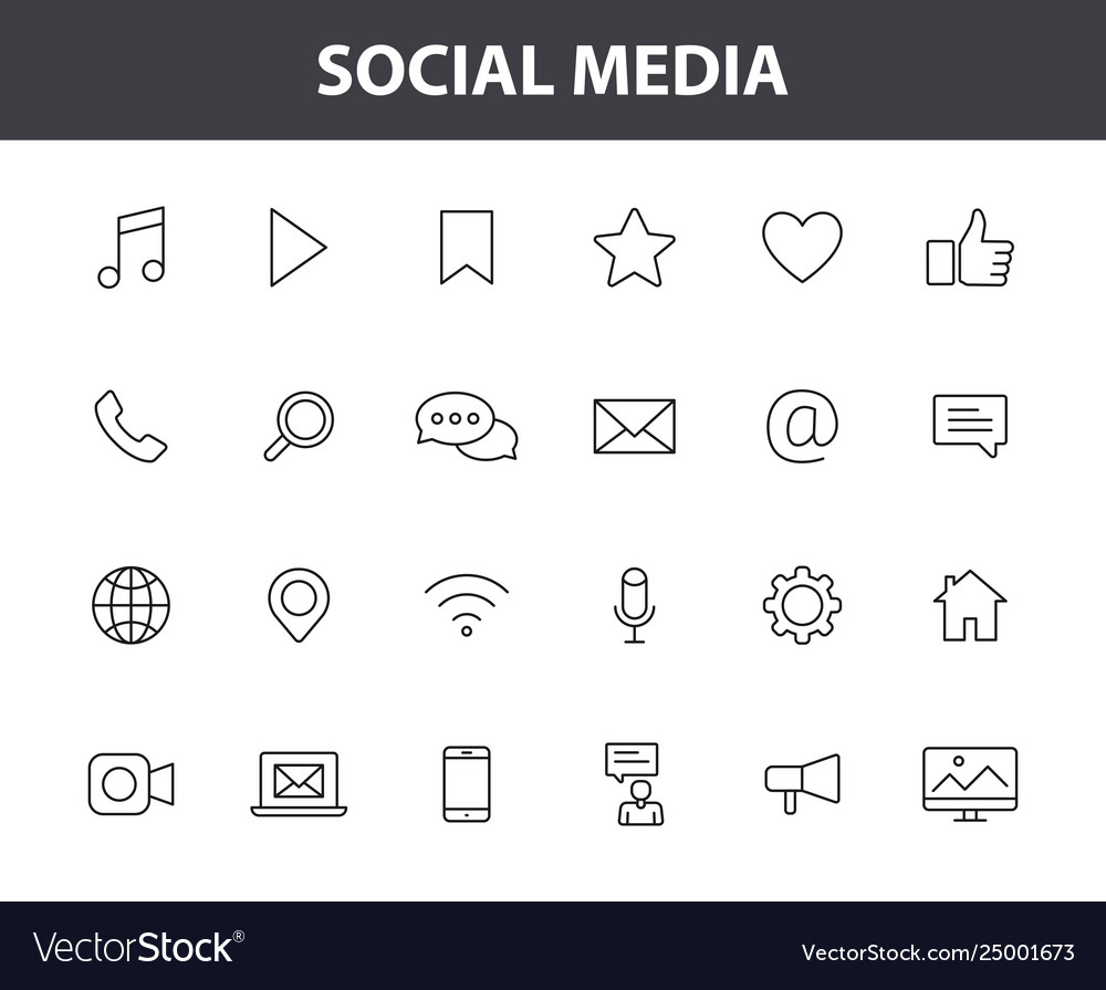 Set 24 social media web icons in line style