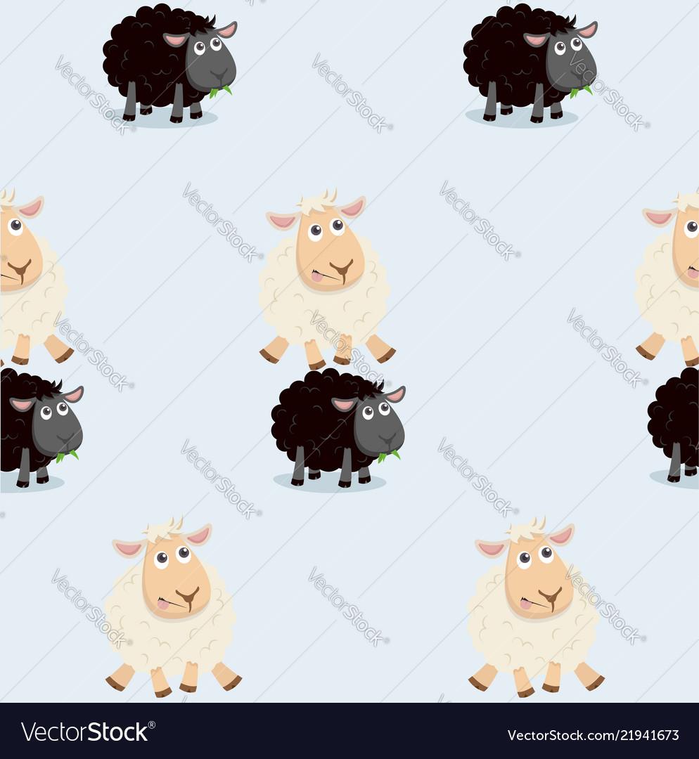 Sheep jumping over black sheep pattern