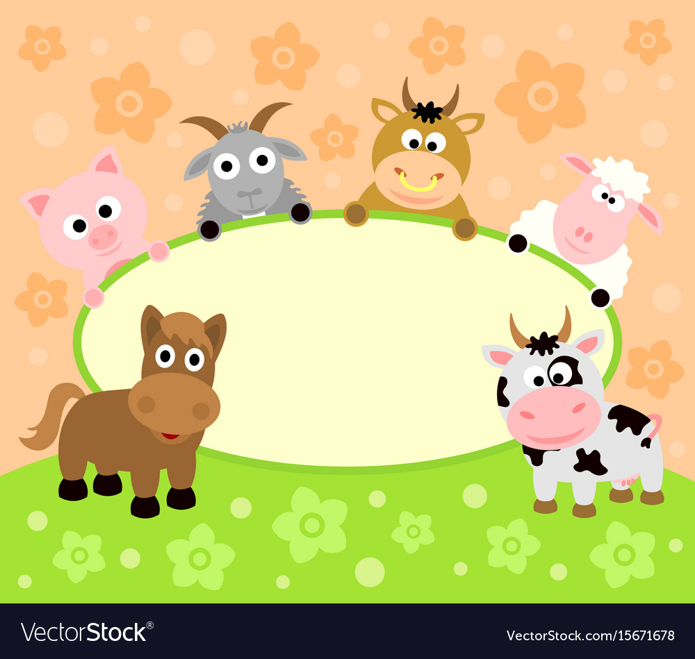 Background card with funny animals vector image