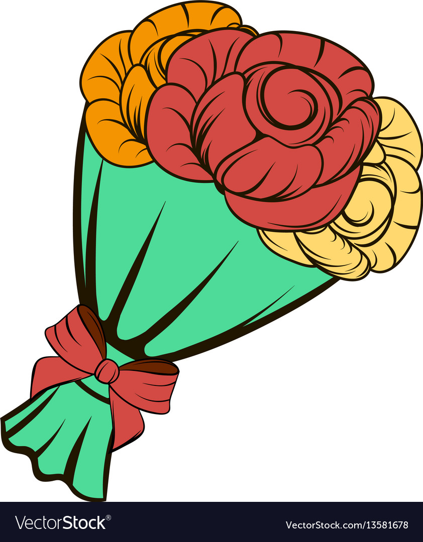 Bouquet of roses icon cartoon