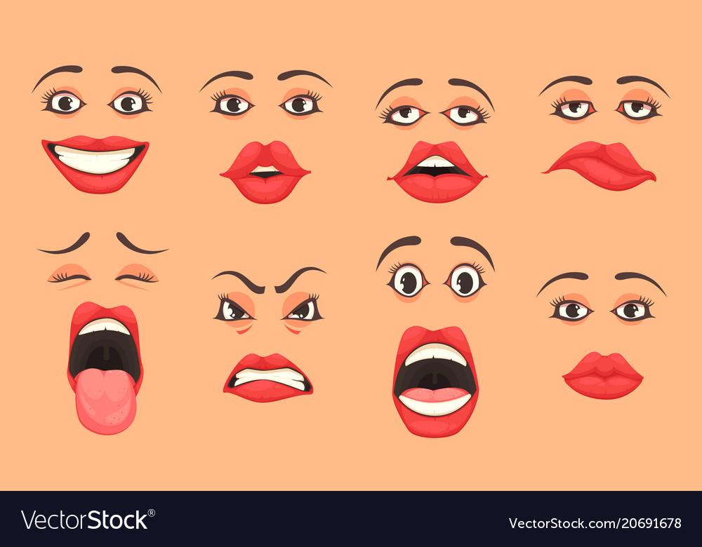 Cartoon women mouth set