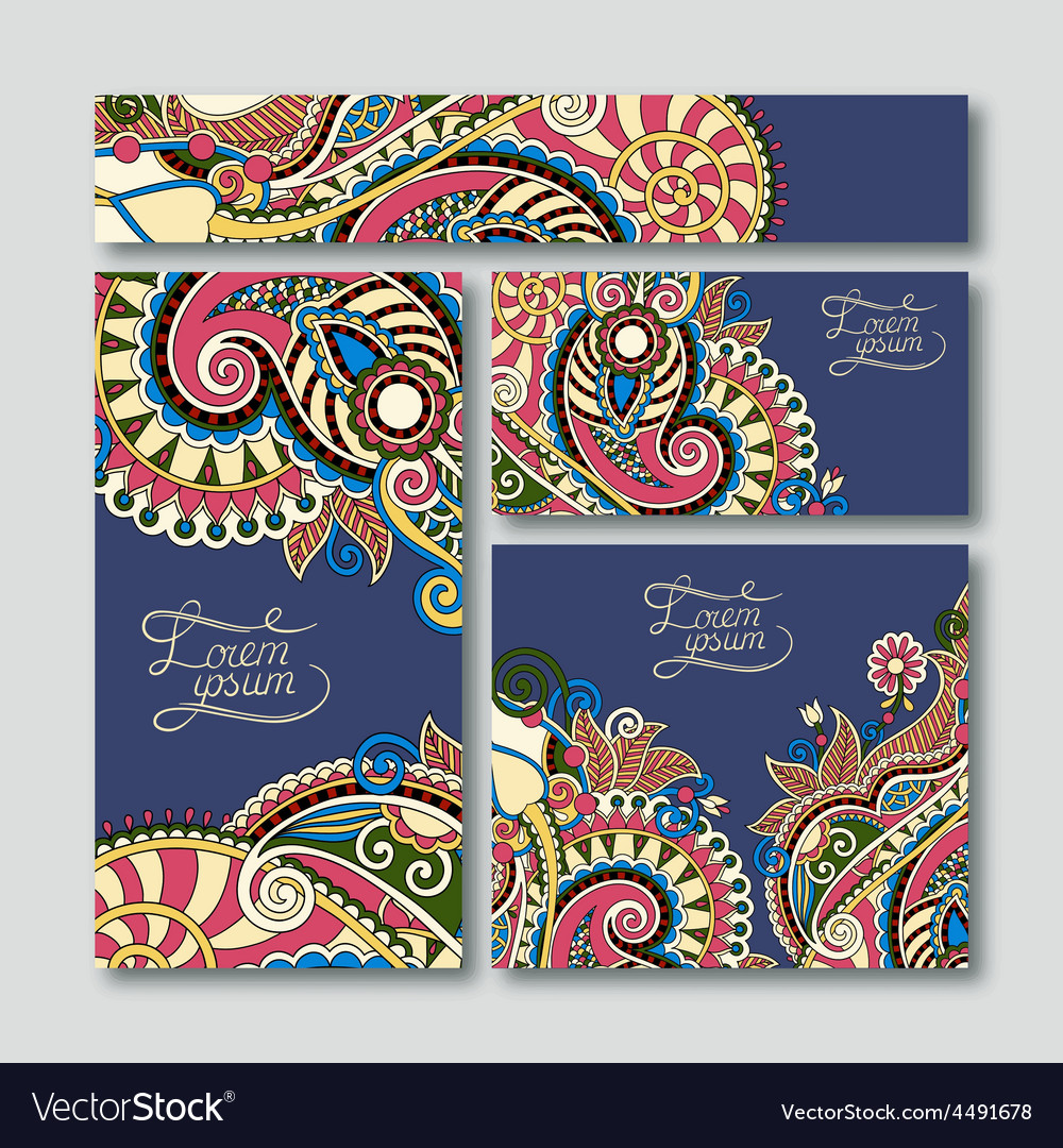 Collection of decorative floral greeting cards in vector image