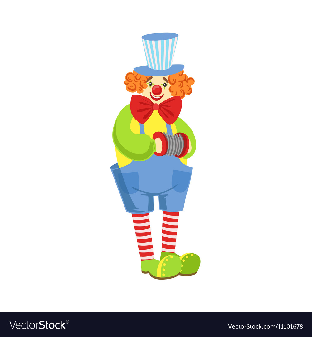 Colorful Friendly Clown With Miniature Accordion
