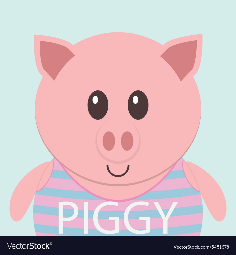 Cute piggy cartoon flat icon avatar