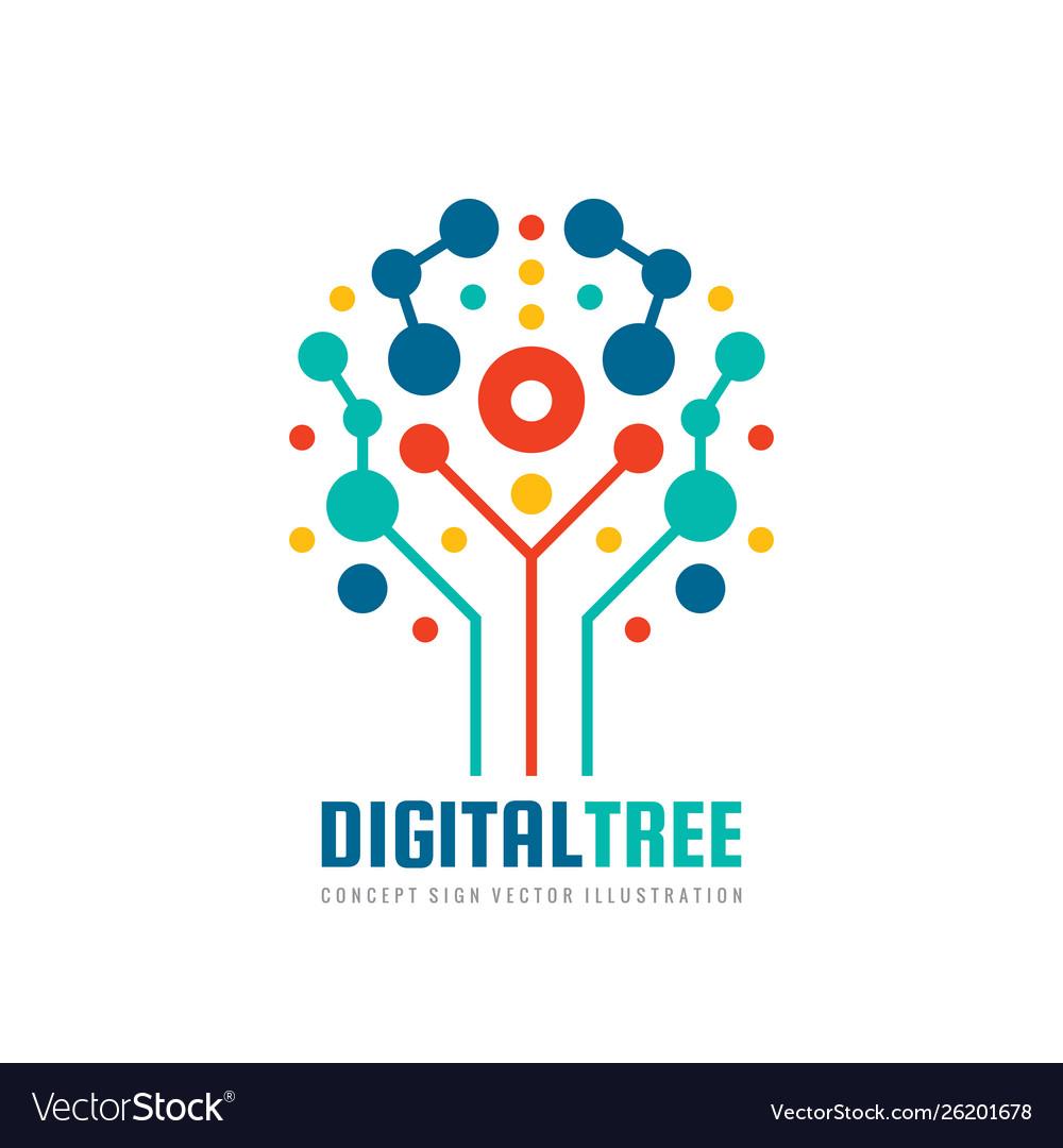 Digital tree - logo design computer net