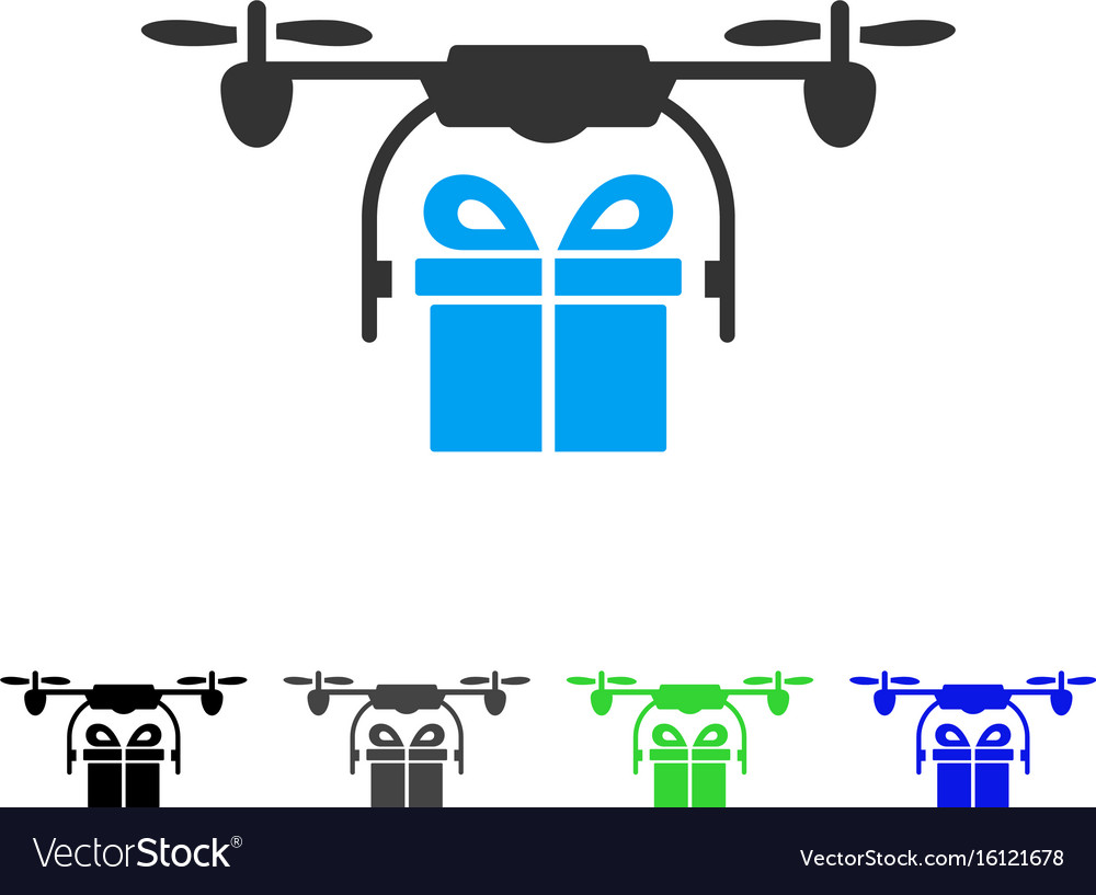Drone gift delivery flat icon