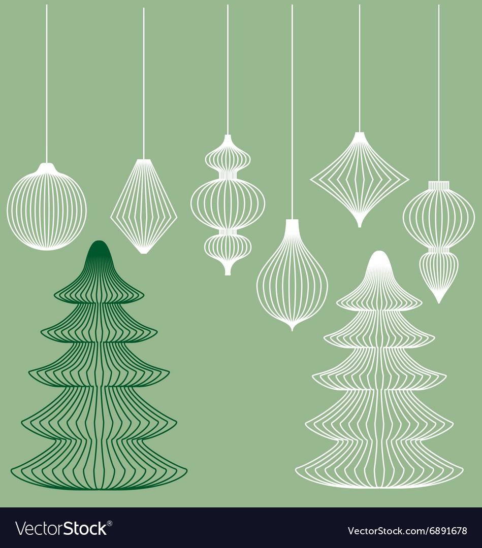 Christmas Ornament Vector.Geometric Christmas Ornaments Set