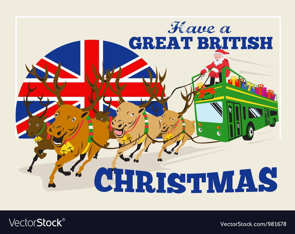 great british christmas santa reindeer doube vector image - British Christmas