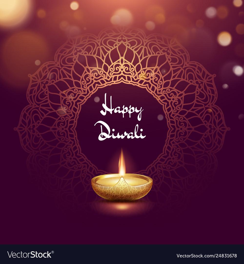 Happy diwali festival burning diya card template