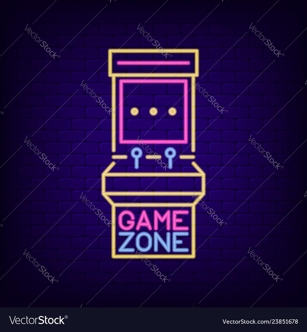 Neon sign of retro slot machine game zone