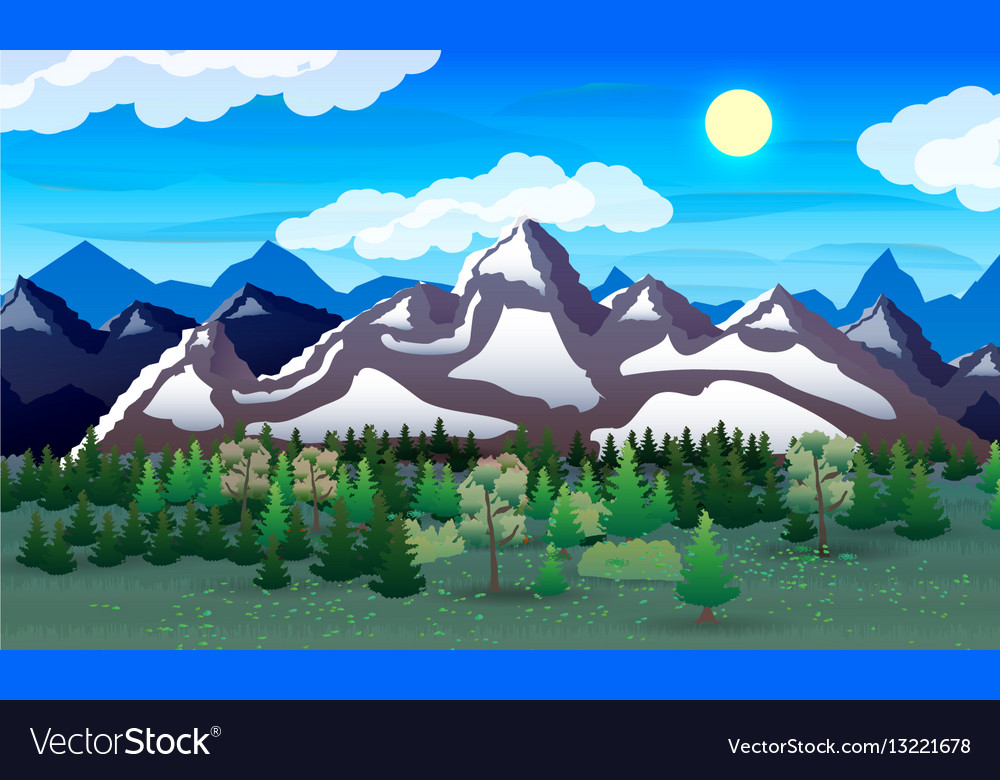 Night nature landscape forest mountains lake vector image