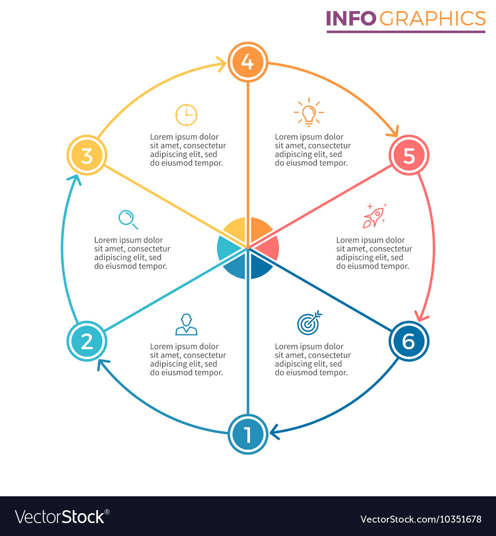 pie chart diagram with 6 steps options royalty free vector