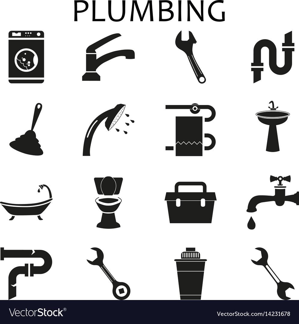 Set black icons of plumbing