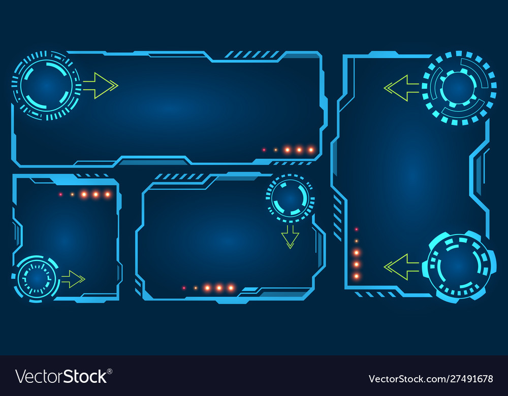 set futuristic empty frames with hud elements vector image vectorstock
