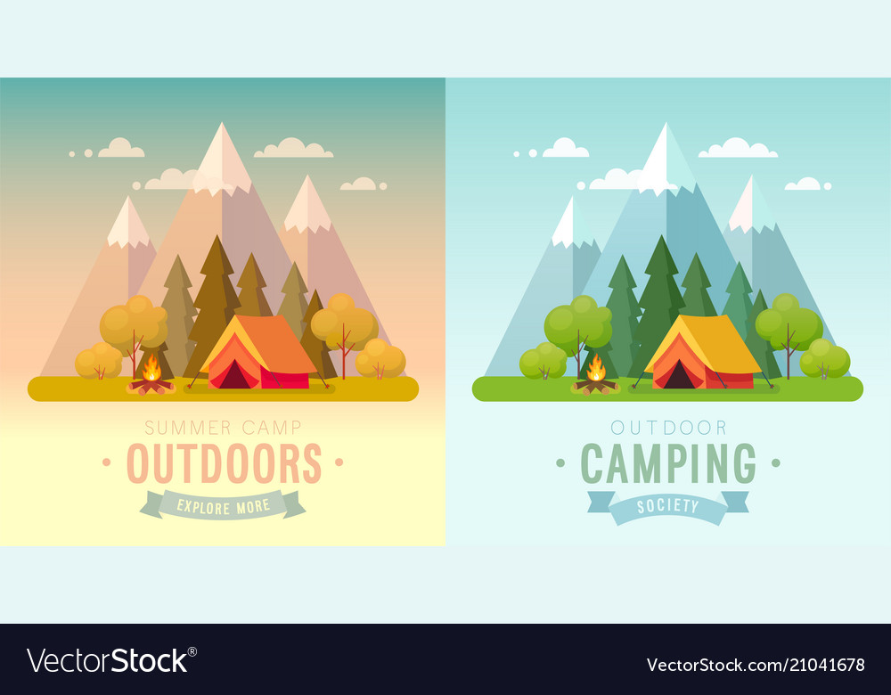Summer camping day and sunset graphic posters